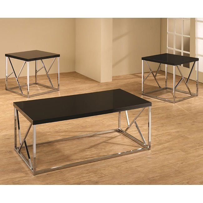 Black and Chrome 3-Piece Occasional Table Set