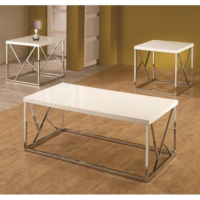 White and Chrome 3-Piece Occasional Table Set