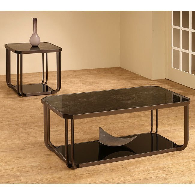 Black Tempered Glass Occasional Table Set