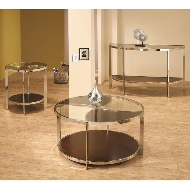 Contemporary Glass Top Occasional Table Set