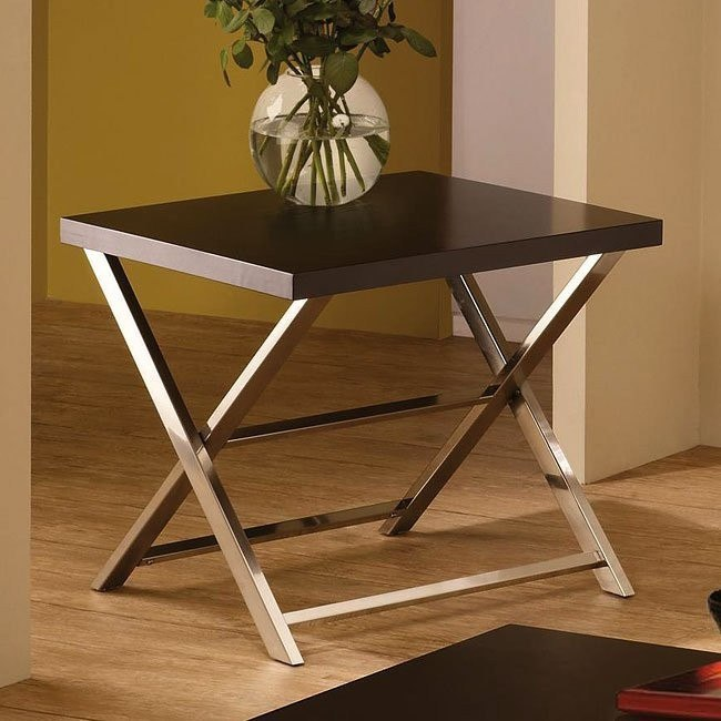 Wood and Metal Modern End Table