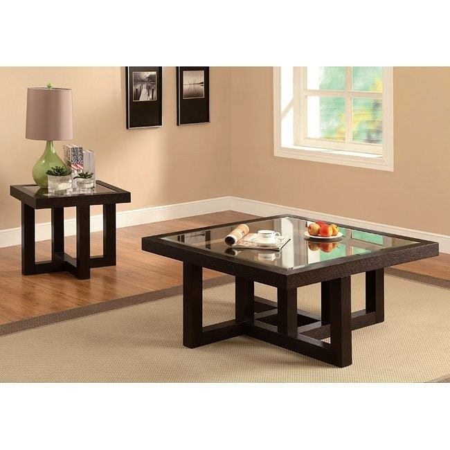 Black Coffee Finish Occasional Table Set
