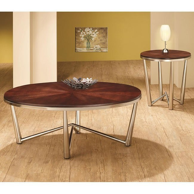 Wood and Metal Round Occasional Table Set