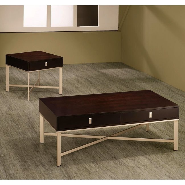 Wood and Metal Storage Occasional Table Set