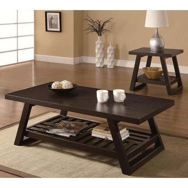 Rich Brown Contemporary Occasional Table Set