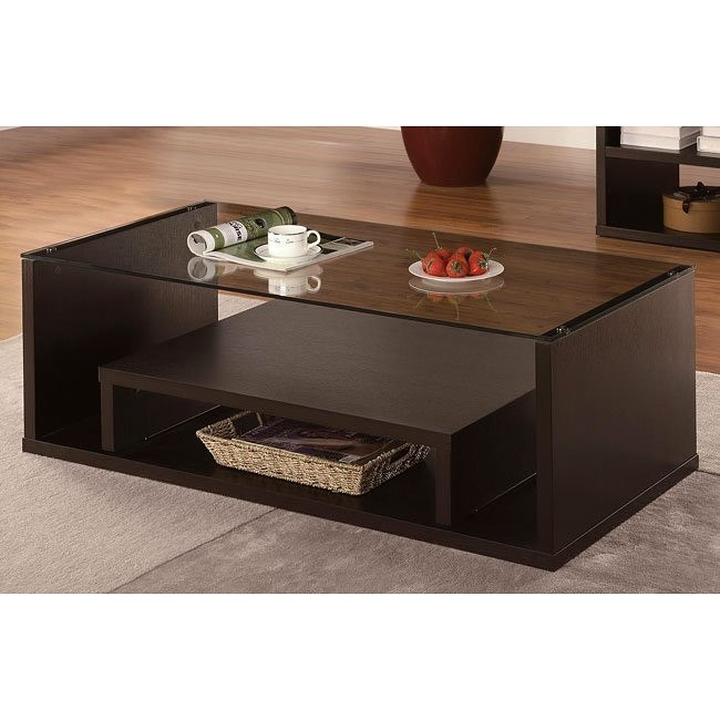 Modern Cappuccino Coffee Table w/ Pull-Out Shelf