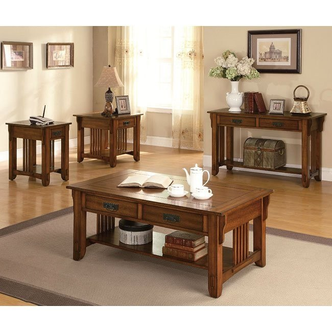 Warm Brown Oak Occasional Table Set