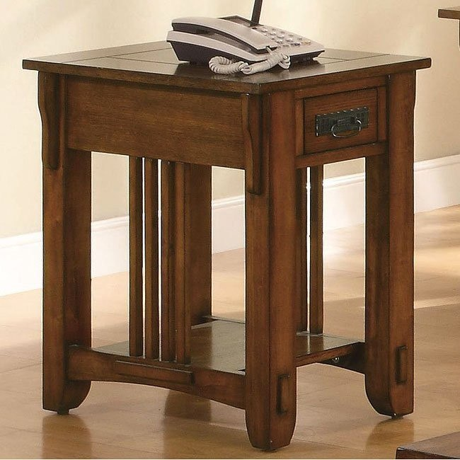 Warm Brown Oak Side Table