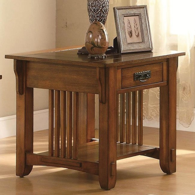 Warm Brown Oak End Table
