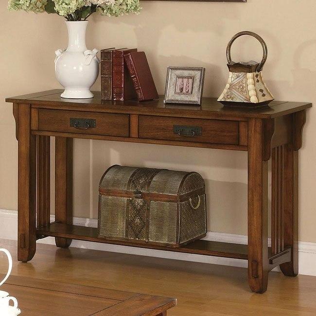 Warm Brown Oak Sofa Table