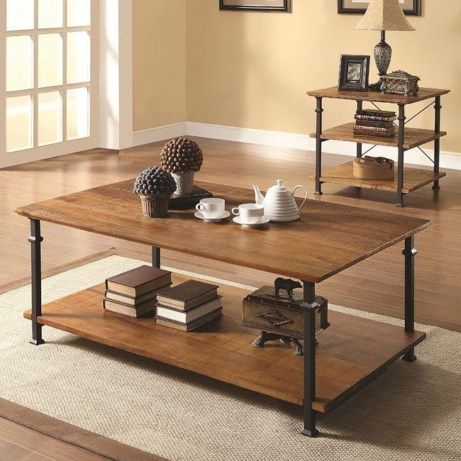 Mission Style Distressed Occasional Table Set