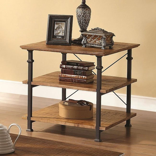 Mission Style Distressed End Table