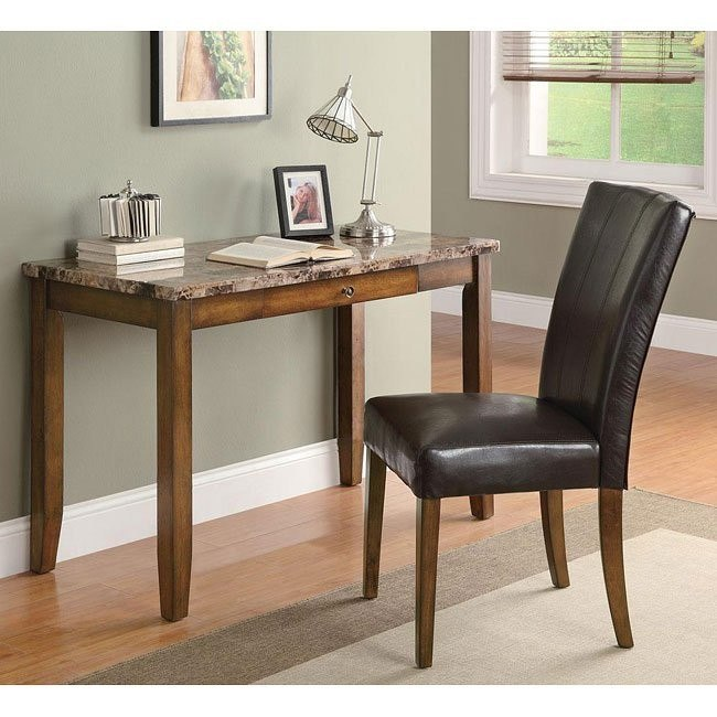 Faux Marble 2-Piece Desk Set (Walnut)