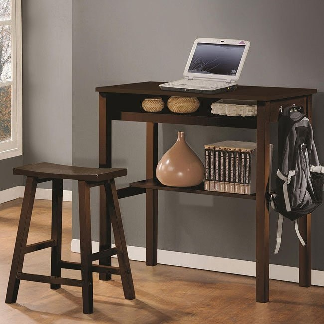 Espresso 2-Piece Counter Height Desk Set
