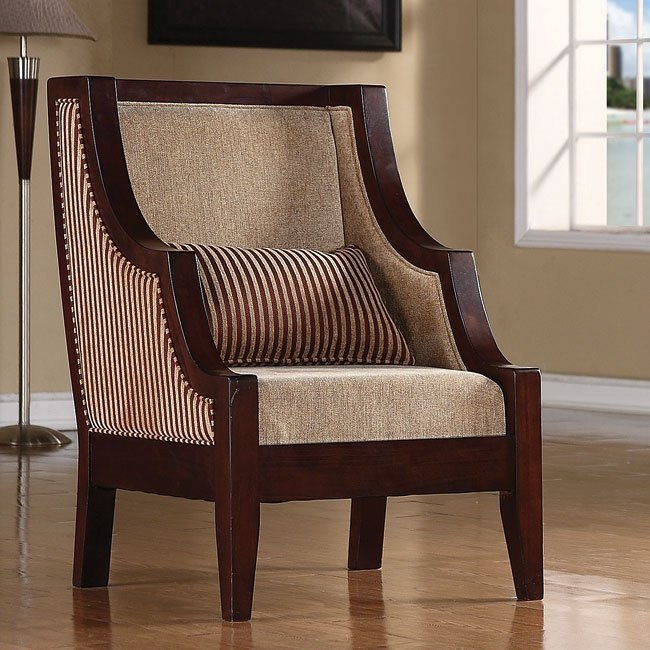 Striped Accent Chair Maroon Beige By Coaster Furniture