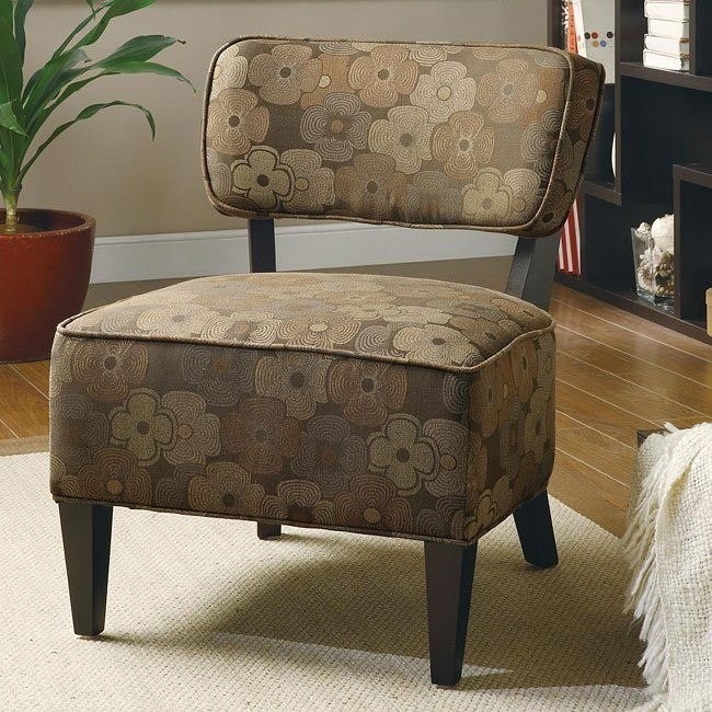 Brown Floral Accent Chair