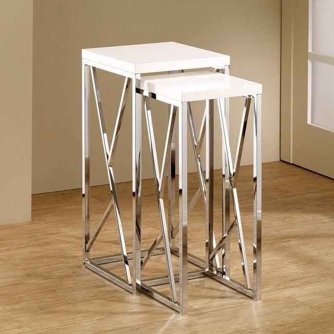 Modern Tall Nesting Tables (White)