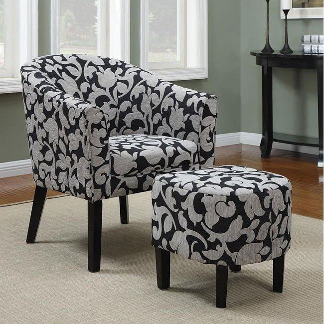 Black and White Barrel Back Accent Chair w/ Ottoman