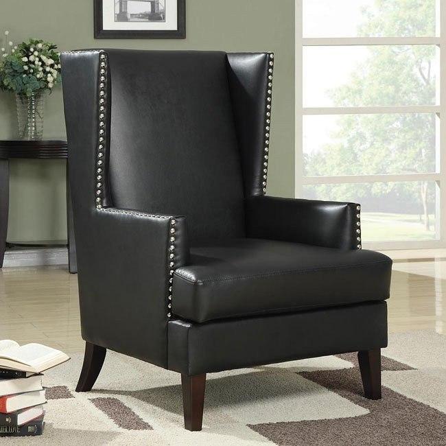 Black Accent Chair w/ Nailheads