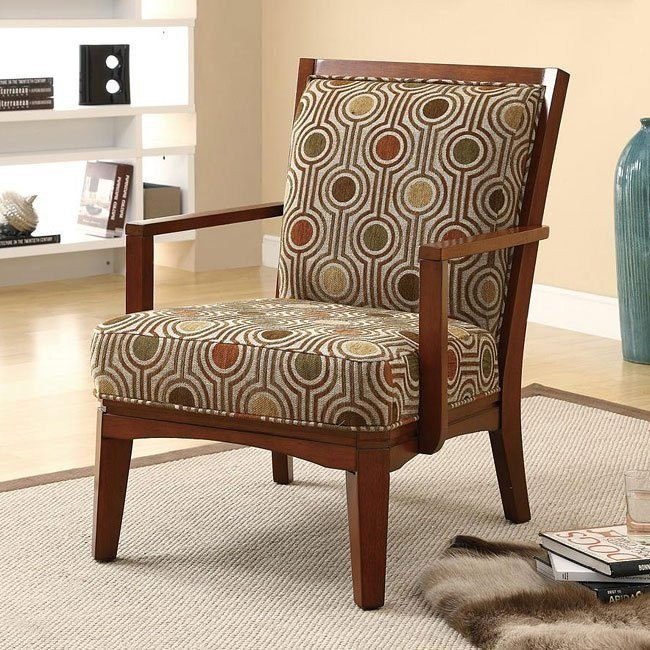 Wood Slatted Back Accent Chair