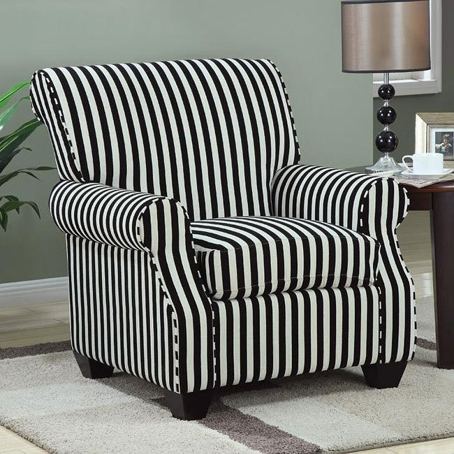 Black and White Stripe Accent Chair