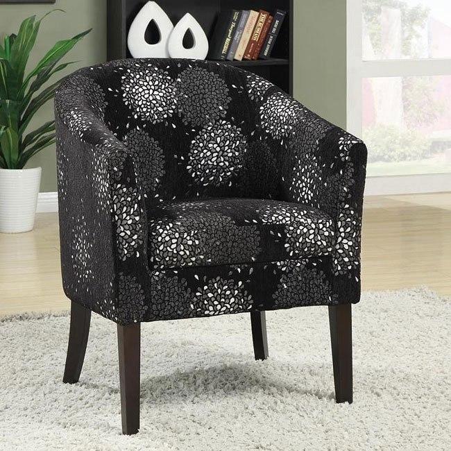 Silver Chrysanthemum Pattern Accent Chair