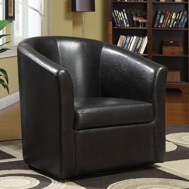 Barrel Back Accent Chair in Brown