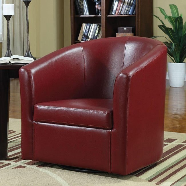 Barrel Back Accent Chair in Red