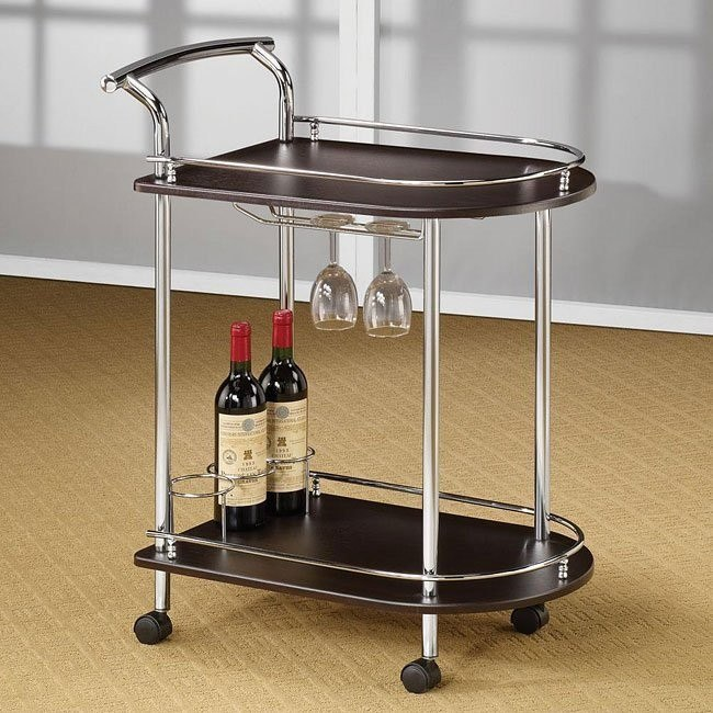 Cappuccino and Chrome Serving Cart