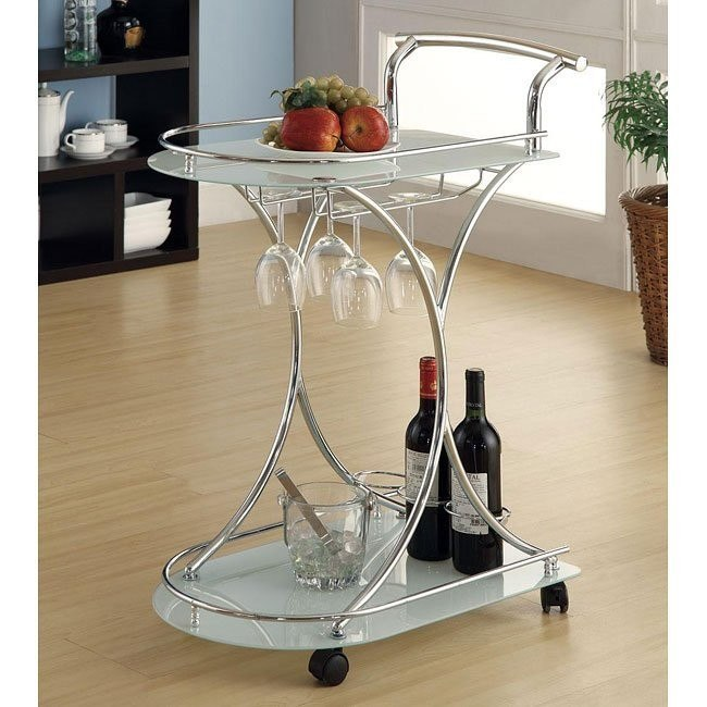 White and Chrome Serving Cart
