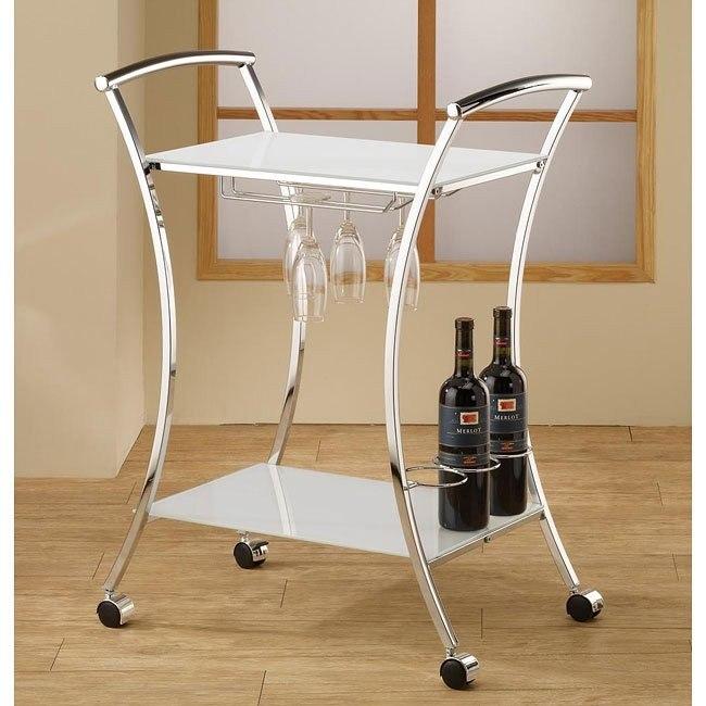 White Metal Serving Cart