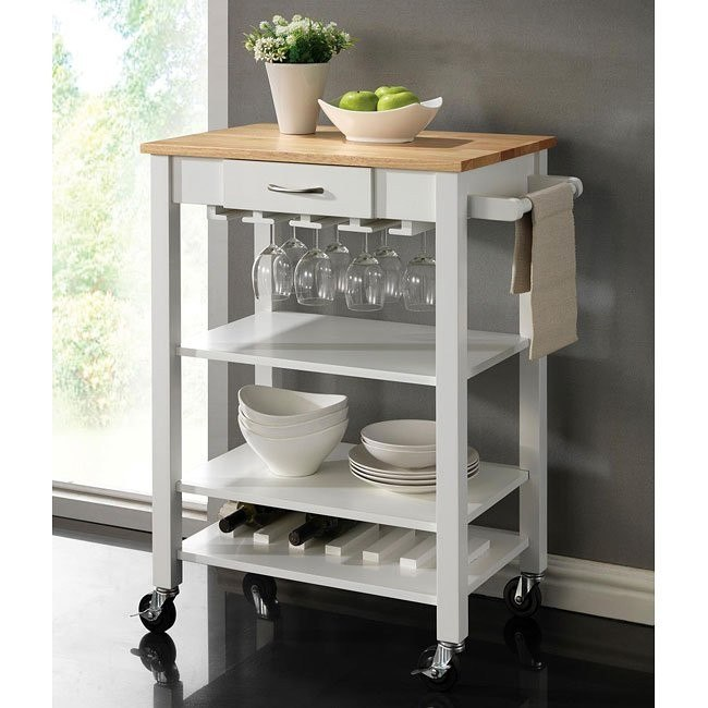 White and Natural Kitchen Cart