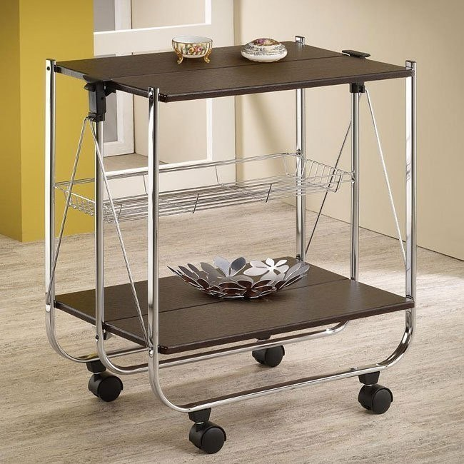 Cappuccino and Silver Serving Cart