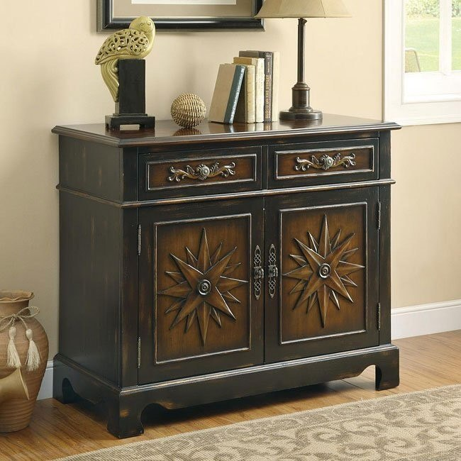 Two-Tone Rubbed Through Finish Accent Cabinet