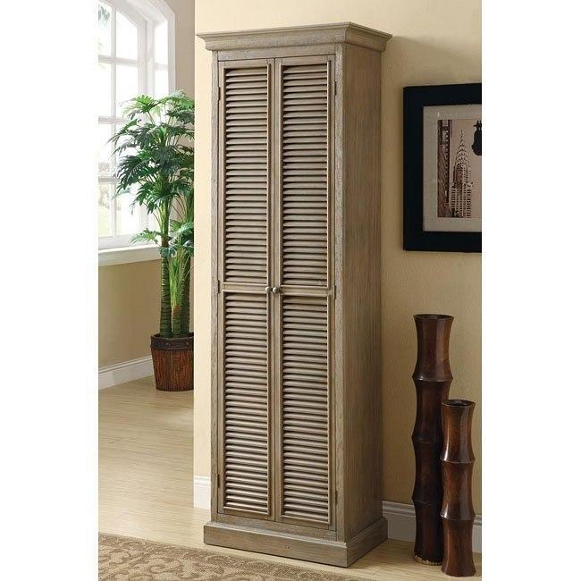 Grey-Toned Antique Oak Storage Cabinet