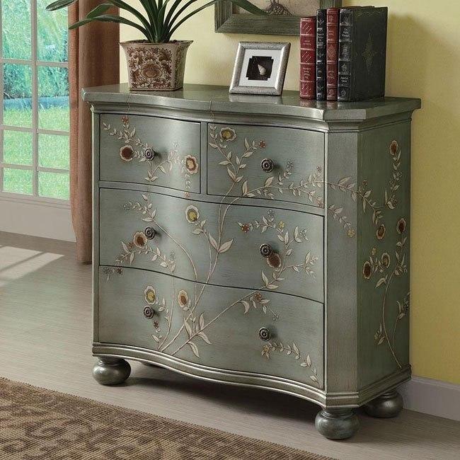 Antique Iridescent Blue Accent Cabinet