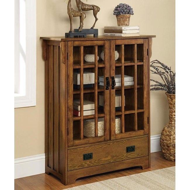 Brown Oak Curio Cabinet