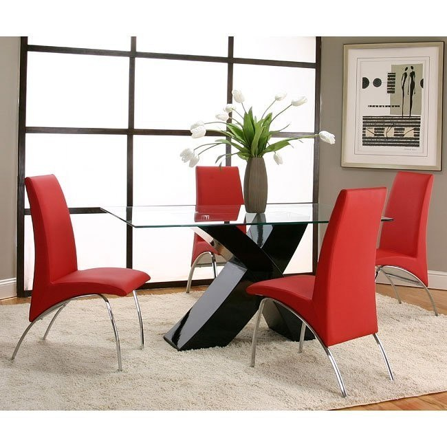 Mensa Black Base Dining Room Set with Red Chairs