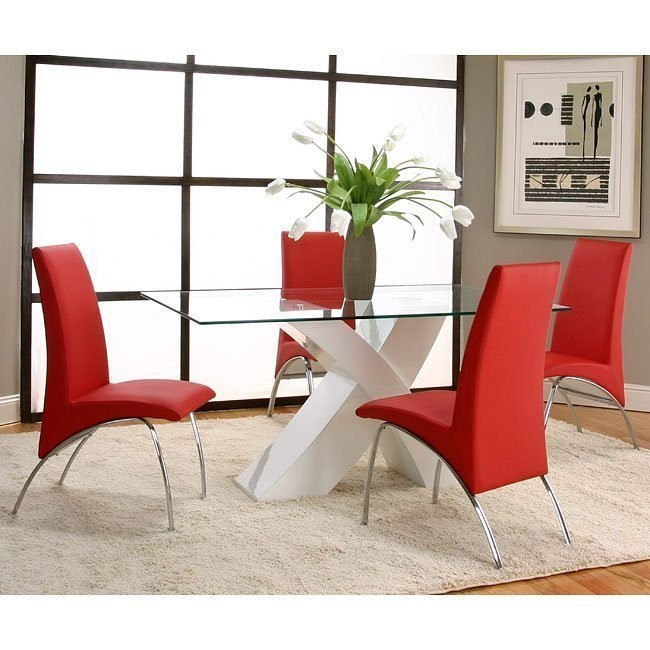 Mensa White Base Dining Room Set with Red Chairs