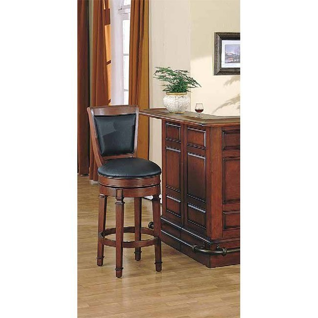 Monticello 30 inch Leather Stool (Burnished Cherry)