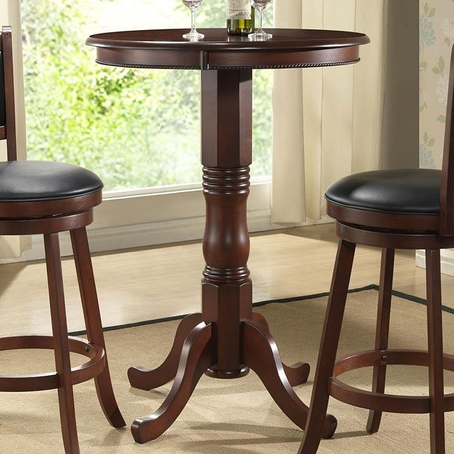 Round Pub Table in Burnished Cherry