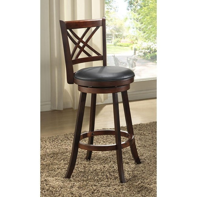 24 inch Distressed Walnut Double X Back Stools (Set of 2)
