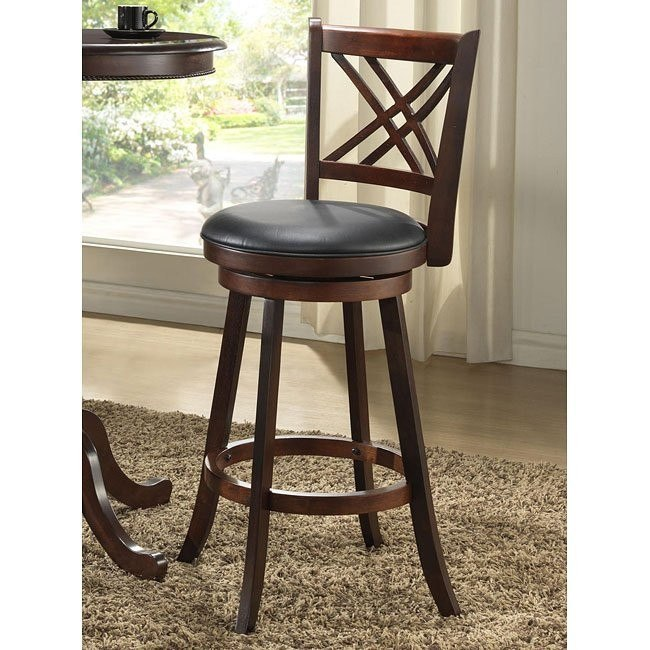 29 inch Distressed Walnut Double X Back Stools (Set of 2)
