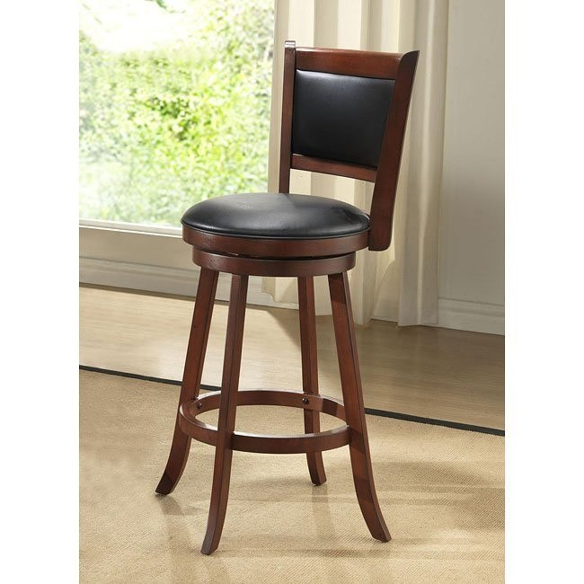 24 inch Burnished Cherry Upholstered Stools (Set of 2)