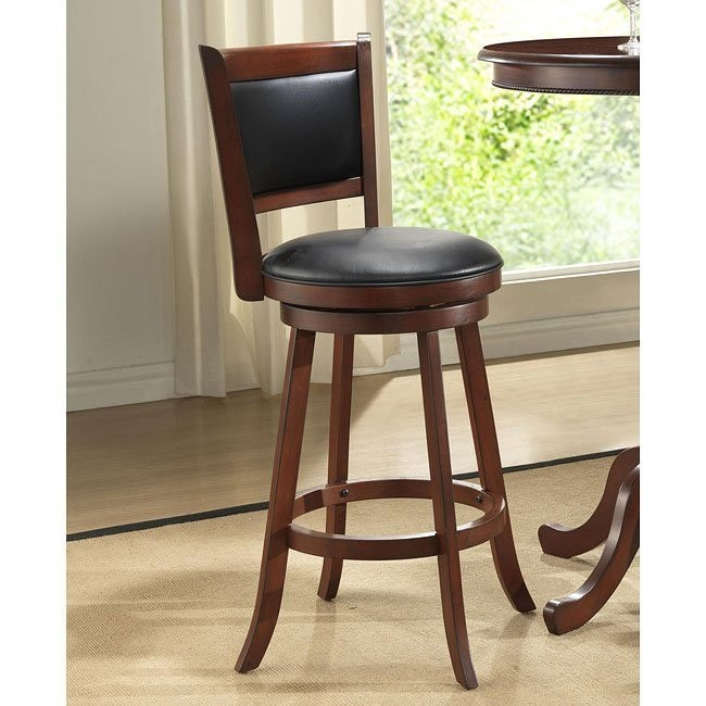 30 inch Burnished Cherry Upholstered Stools (Set of 2)