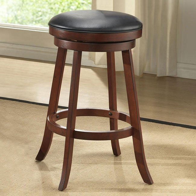 24 inch Burnished Cherry Backless Stools (Set of 2)