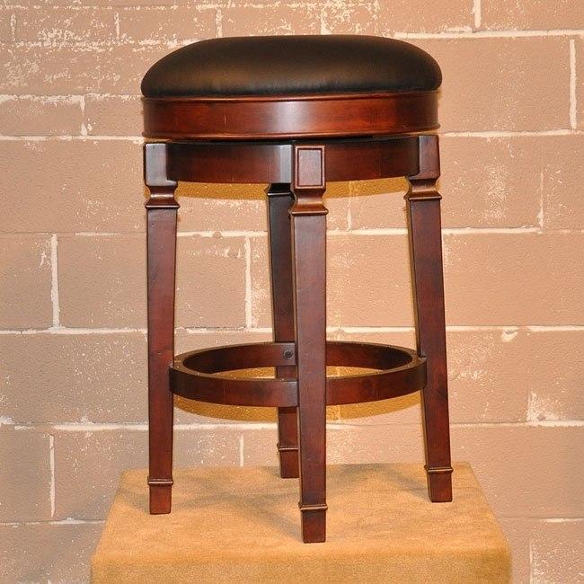 Distressed Walnut Backless Barstool (Set of 2)