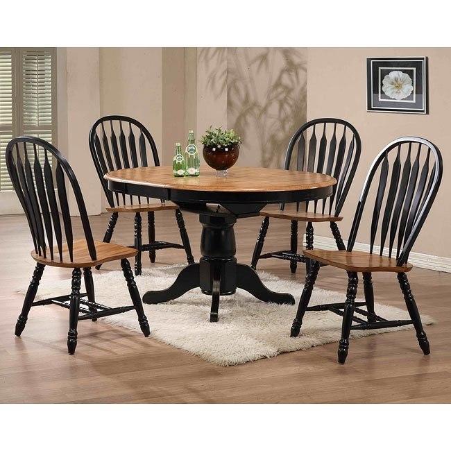 Missouri Round Dining Room Set (Black/ Rustic Oak)