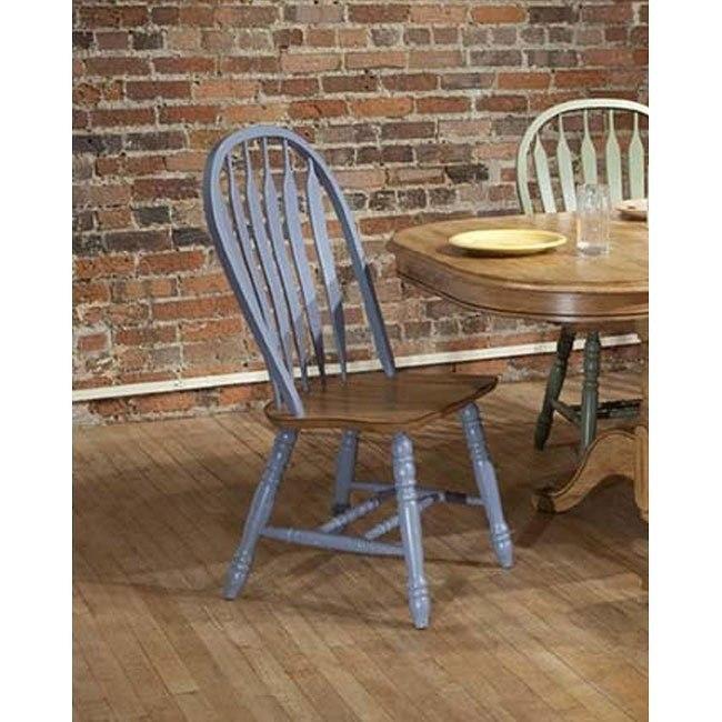 Missouri Side Chair (Set of 2) (Blue/ Rustic Oak)