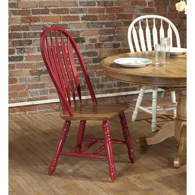 Missouri Side Chair (Set of 2) (Red/ Rustic Oak)